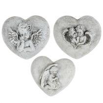 Grave corazones de joyas con ángeles 9cm 3pcs