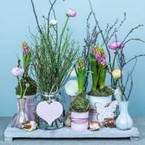 Decoración colgante corazón flor mariposa blanco, rosa madera primavera decoración 6 piezas