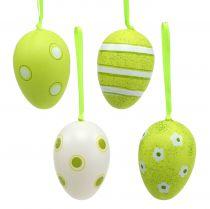 Percha de plastico huevos verde 6cm 12pcs