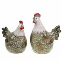 Figuras decorativas gallina y gallo gris, blanco, rojo 10.2cm x 7cm H12.7cm 2pcs
