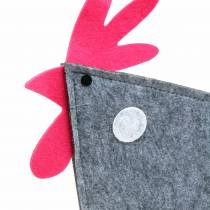 Grifo decorativo de fieltro con puntos grises, blancos, rosas 30cm x 5cm H31.5cm Decoración de Pascua, escaparate