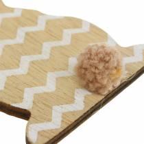 Conejito de Pascua para colgar crema, marrón, madera natural surtida H11,5cm 6pcs