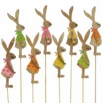 Decoración de Pascua conejo con palo de madera surtido natural 11cm 16p