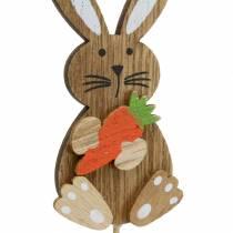 Decoración de Pascua conejo con palo de madera surtido natural H8,5cm 16p
