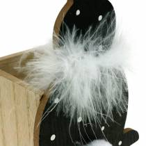 Macetero de conejito boa de plumas negro, conejito de Pascua de madera punteado blanco
