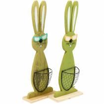 Conejitos de Pascua con cesta verde, primavera, cesta de plantación decorativa, decoración de Pascua conejito de madera 2 piezas
