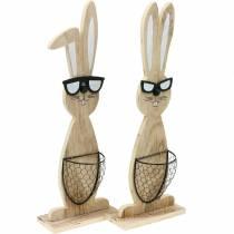 Conejitos de madera con gafas de sol y cesta naturaleza, decoración de Pascua, figura de conejo con cesta de plantas, decoración de primavera 2 piezas