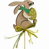 Conejito con huevo de Pascua en un palo, enchufe de flor de conejito de Pascua, decoración de madera de Pascua, enchufe decorativo, decoración de flores 12 piezas