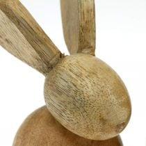 Decoración de Pascua conejito decoración de madera sentado conejito de Pascua naturaleza 12 cm 4 piezas