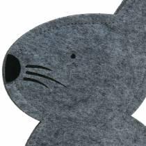 Conejo sentado fieltro gris 40cm x 7cm H61cm decoración de la ventana