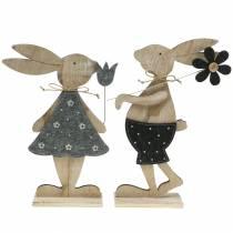 Figura decorativa conejo de madera fieltro 30 / 31.5cm 2pcs