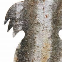 Decoración de Pascua conejo para pegar óxido de abedul aspecto metal 16.5 × 32cm