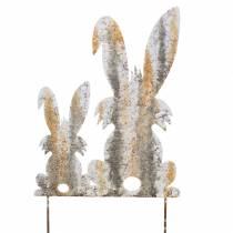 Decoración de Pascua conejo con niño para pegar óxido de abedul aspecto metal 25 × 32cm