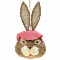 Decoración de Pascua Cabeza de conejo para colgar Paja A51cm
