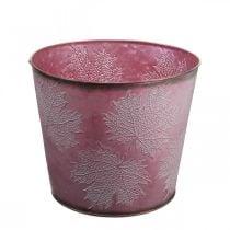 Maceta de otoño, cubo de plantas, decoración de metal con hojas rojo vino Ø25.5cm H22cm