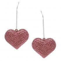 Corazón rosa para colgar con mica 6,5cm x 6,5cm 12pcs
