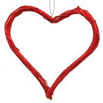Bast corazón para colgar rojo 20cm 6pcs
