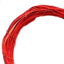 Bast corazón para colgar rojo 15cm 8pcs