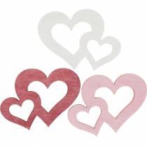 Corazones de madera, obsequios para decoración de mesa, San Valentín, decoración de boda, doble corazón 72pcs