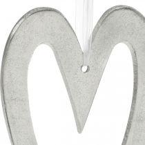Corazón decorativo para colgar decoración de boda de aluminio plateado 22 × 12cm