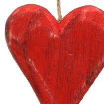 Corazones de madera colgando rojo, blanco 11,5cm 4pcs