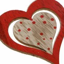 Corazón rojo, blanco, madera natural surtida 4,5x4,5cm 24pcs