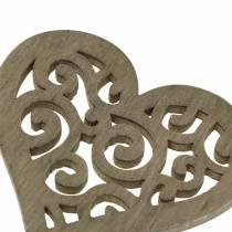Decoración de mesa corazón madera blanco, crema, marrón 4cm 72p