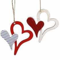 Colgante corazón de madera rojo, blanco 8cm 24pcs