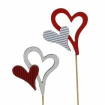 Espárragos corazón de madera rojo, blanco 38cm 12pcs