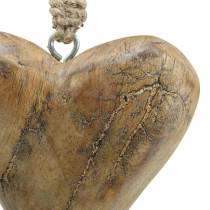 Corazón para colgar mango natural, dorado 14 × 11cm 2ud