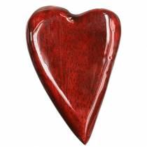 Corazones de madera de mango rojo vidriado 6,2–6,6cm × 4,2–4,7cm 16 piezas