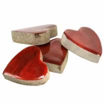 Corazones de madera de mango vidriado natural, rojo 4.3cm × 4.6cm 16p