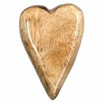 Corazones de madera de mango vidriados naturales 6.2–6.6cm × 4.2–4.7cm 16 piezas