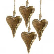 Corazones de madera con decoración dorada, madera de mango, colgantes decorativos 10cm × 7cm 8pcs