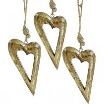 Corazón de decoración, mango efecto dorado, decoración de madera para colgar 13,5 cm × 7 cm 4 piezas
