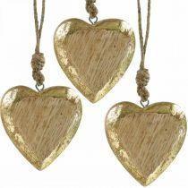 Corazones para colgar, madera de mango, decoración de madera con efecto dorado 8.5cm × 8cm 6pcs