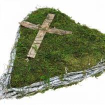 Decoración de tumba enredaderas de corazón, musgo con cruz para arreglo de tumba 30 × 20cm