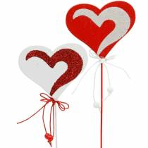 Corazón en el palo rojo, blanco Dekoherz pincho Valentine's Day 16pcs