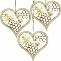 Corazón decorativo abejas amarillo, corazón de madera dorado para colgar decoración de verano 6 piezas