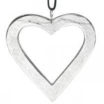 Corazón para colgar, decoración de metal, Navidad, decoración de boda plateada 11 × 11cm