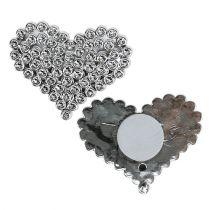 Corazón plateado con punta de pegamento 5,5cm 12pcs