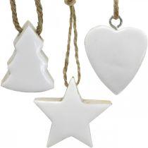 Adornos para árboles de navidad mezcla de madera corazón estrella abeto blanco, naturaleza 5cm 27p
