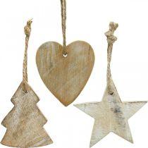 Colgantes de madera, abeto / corazón / estrella, set de decoración navideña H7.5 / 8cm 9pcs
