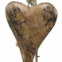 Corazones de madera con incrustaciones de purpurina en un hilo para colgar natural L60cm