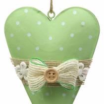Colgante corazón metal verde lima, blanco surtido Al 11cm 4ud