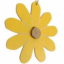 Flores de madera para colgar, decoración de primavera, flores de madera amarillas y blancas, flores de verano 8 piezas