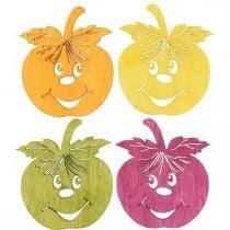 Streudeko manzana risueña, otoño, decoración de mesa, cangrejo naranja, amarillo, verde, rosa H3.5cm W4cm 72pcs