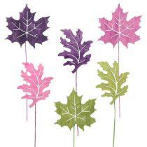 Mezcla de hojas de madera como enchufe 8cm L30cm Erika, verde 12pcs