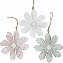Flores de madera para colgar, verano, flores en colores pastel, decoración primaveral Ø16cm 3ud