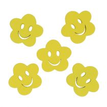 Flor de madera con cara amarilla 2,5cm 48p